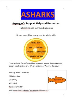 poster for ASHARKS adult support group