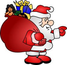 image of Santa with bag of presents