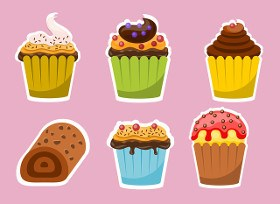 cartoon image of cakes
