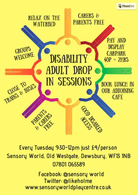 poster for adult disability sessions at Sensory World, Dewsbury